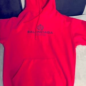 Balenciaga Red Hoodie with logo on front